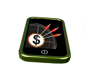 In-Game Purchases: Moblie phone with graphic on screen of three arrows piercing dollar sign target