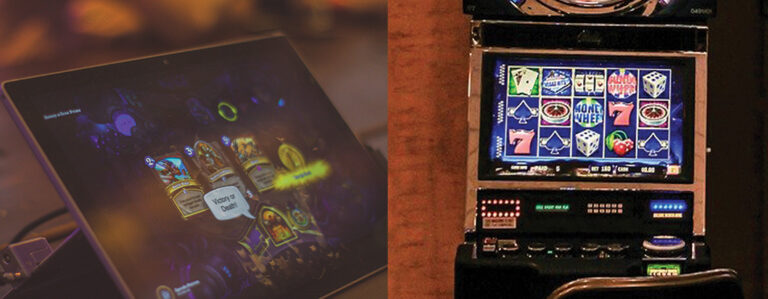 Online addiction: Image of video game and slot machine.