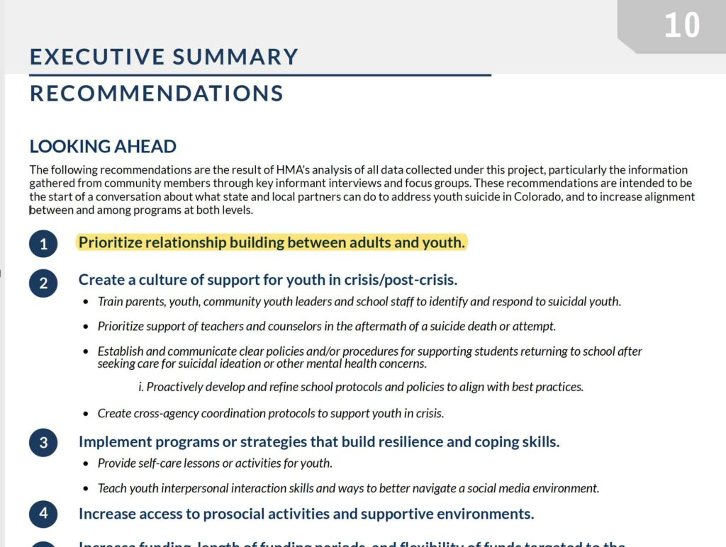 Teen Suicide Study Recommendations screengrab